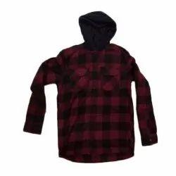 Dokomo Cotton Kids Check Printed Full Sleeve Hooded Shirt