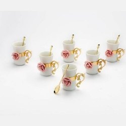 Porcelain Rose Embellished Golden Coffee Mug Set (Set Of Six)