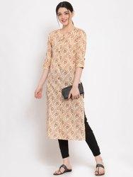 Women Printed Straight Cotton Kurta (Beige)