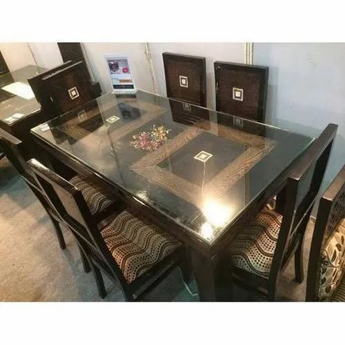 Vasavi Glass Wooden Top Dining, Glass Top Dining Room Table