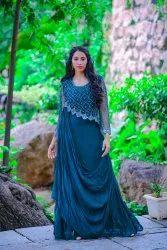 Green Designer Indo Western Gown