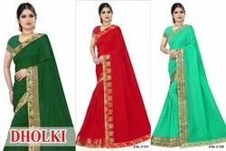 Anmazing Factory Green Reniyal Embroidery Saree, 6 m (With Blouse Piece)