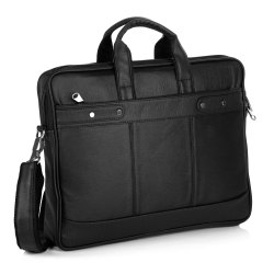 Plain Black Office Leather Bag