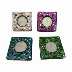 Square Handicraft Wax Diya, For Home Decor, 8x3 Inch