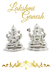 Oxidized Handicraft Hgj Lakshmi And Ganesh Silver Idols Murti 201 Grams