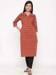 Jaipur Kurti Women Maroon Printed Straight Cotton Kurta