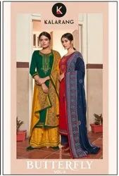 Kalarang Butterfly Vol 3 Jam Silk Cotton With Embroidery Work Dress Material Catalog