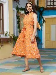Janasya Women's Orange Rayon Dress (J0164)