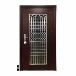 Brown Powder Coated PGD-2 Steel Entry Door, For Home, Thickness: 70 Mm