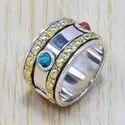 925 Sterling Silver Light Weight Turquoise And Carnelian Gemstone Ring SJWR-81