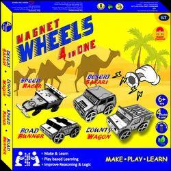 Soft Wood Magnet Wheels - 4 Car Models In One