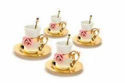 Porcelain Rose Embellished Golden Tea Cup Set (Set Of Four)