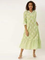 Jaipur Kurti Green Printed Flared Dress