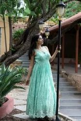Sea Green Gown With Pearls Work