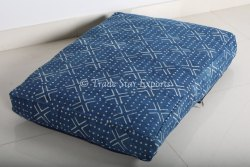 100% Thick Rug Cotton Blue Hand Block Printed Indigo Mudcloth Floor Pouf Cover