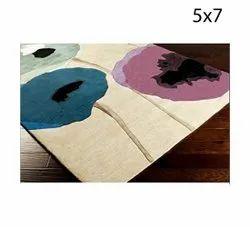 5x7 Feet Designer Handloom Wool Carpet, Rectangle