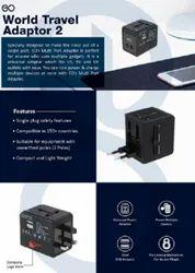 2 Usb,Multiple Pins black World Travel Adapter
