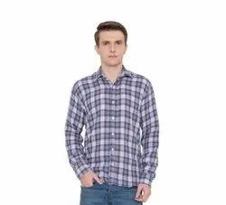 Collar Neck Casual Wear Mens Check Print Cotton Shirts, Size: XS-XXL