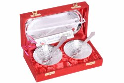 Anand Crafts Silver Plated German Silver Bowl Spoon Tray Set