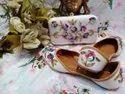 Ladies Handwork Embroidery Punjabi Jutti With Matching Clutch