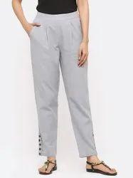 Jaipur Kurti Women Grey Solid Cotton Slub Pants