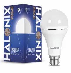 Polycarbonate Round 9 Watt Halonix Inverter Led Bulb, B22