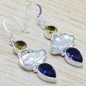 Pearl Gemstone 925 Silver Earrings WE 6447