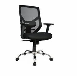 Polyester Used Office Revolving Chair, Black