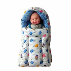 White Cotton Printed Baby Sleeping Bag, 3-12 Months