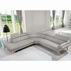 White Wood L Shape Leather Sofa Set