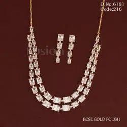 American Diamond 2 Line Necklace Set