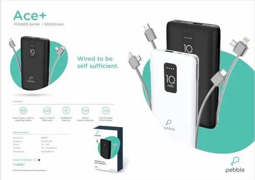 Branded Pebble Ace+ 1000mAh Power Bank With Inbuilt Cable