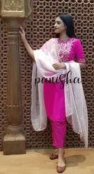 Cotton Casual Wear Pink Ladies Suit Set