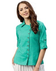 Jaipur Kurti Women Sea Green Solid Straight Cotton Slub Shirt