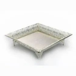 Detailed Rimmed Square Silver Tray