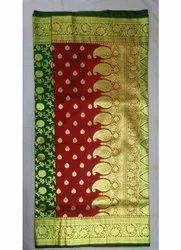 6.3 m (with blouse piece) Maroon,Green & Golden Double Shaded Banarasi Saree