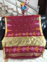 Festive Wear Red Maroon Gold Border Handloom Temple Work Sarees, With Blouse Piece