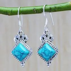 Turquoise Gemstone 925 Sterling Wholesale Silver Jewellery Earring