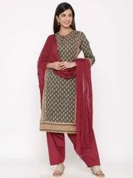 Jaipur Kurti Women Charcoal Ethnic Motif Straight Cotton Kurta With Salwar & Dupatta