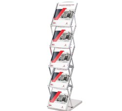 Metal 9 Inch Silver Brochure Stand Folding