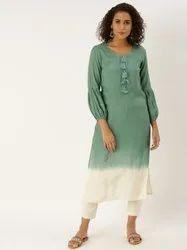 Jaipur Kurti Green Ombre Embellished Kurta