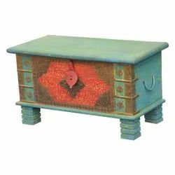 Furniture BoutiQ Frosted Flower Reclaimed Wood Brass Inlay Coffee Table Trunk