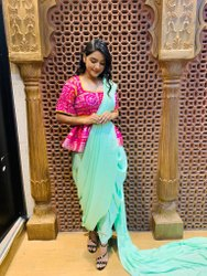 Chiffon Ladies Party Wear Indo Western Dress