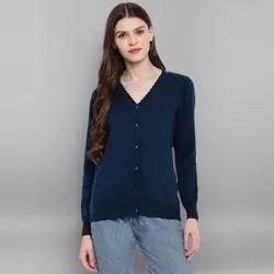 Janasya Women's Blue Woolen Cardigan(J0324)