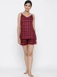 Jaipur Kurti Women Red Check Straight Rayon Blend Sleepwear