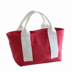 Hand Handled Red And Black Ladies Cotton Handbag, For Office, Size: 9x7 Inch