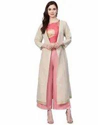 Jaipur Kurti Women Off White Striped Straight South Cotton Shrug