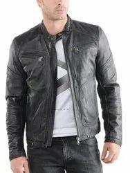 Men's Black Jacket Lambskin Leather Slim-Fit Biker Racer Zippered Pockets