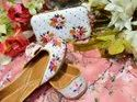 Ladies Partywear Punjabi Jutti With Matching Clutch With Handmade Work