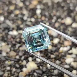 4.82 Ct Light Blue Color Asscher Cut Loose Moissanite for Jewelry